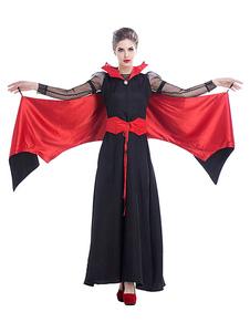 Disfraz Carnaval Disfraces de Halloween Vestido negro de dos tonos de vampiro para mujer Disfraces de fiestas de Halloween Carnaval