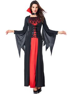 Costume Carnevale Costumi di Halloween Girocollo da vampiro da donna Abito nero Pizzo Costumi di vacanze di  Costume Carnevale