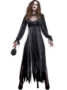 Costume Carnevale Costumi di Halloween Abito nero da zombie da donna Girocollo Tulle Costumi di vacanze di  Costume Carnevale