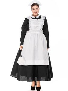 هالوين ازياء المرأة خادمة الرباط أغطية الرأس المريلة القطن هالوين العطل ازياء