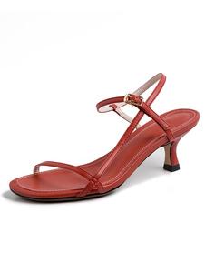 Sandali da donna Open Toe Oragnge Red Kitten Heel Scarpe da donna