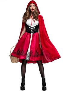 Costume Carnevale Costumi per le feste delle donne Cappuccio da equitazione rosso Abito stampato Costume da festa  Costume Carnevale