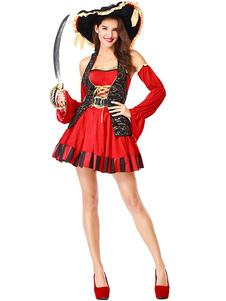 Костюмы на Хэллоуин Пиратские костюмы Женское красное платье Нарукавники Костюмы для праздников
