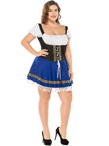 Trajes de Halloween Traje Da Menina Da Cerveja Azul Impresso Vestido Da Menina Da Cerveja Trajes Feriados Trajes Oktoberfest