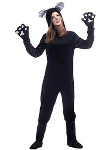 Trajes de Halloween Kigurumi Pijamas Gatos Sapatos de Mulher Capa Macacão Luvas
