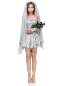 Trajes do Dia das Bruxas do véu dos tornozeletes do laço da noiva do cadáver dos trajes do Dia das Bruxas das mulheres