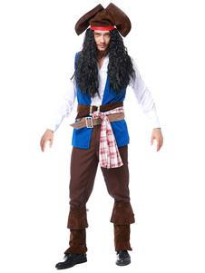 Trajes de Halloween Traje de Pirata Trajes de Carnaval de Colete de Pirata Azul