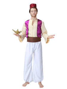 Disfraz Carnaval Disfraces de Halloween Disfraz de príncipe árabe de los hombres Top de chaleco Satén mate Multicolor Disfraces de fiestas de Halloween Carnaval