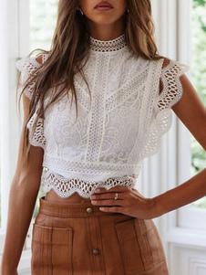 Top corto sin mangas con cuello de joya y encaje blanco para mujer