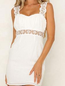 فستان الصيف الأبيض الأشرطة الرقبة الرباط تصحيح عارية الذراعين شاطئ اللباس