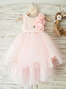 Vestidos de niña de flores Cuello joya Tela de satén Sin mangas Princesa asimétrica Silueta Sash Vestidos de fiesta para niños