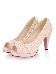 """زقزقة اصبع القدم مضخات عالية الكعب منصة بريزم كعب 3.1 """"أحذية الكروشيه المرأة"""