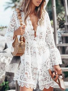 Женские прикрытия Ups Белые кружевные кружева с V-образным вырезом с длинными рукавами Полупрозрачные кружевные летние пляжные купальные костюмы