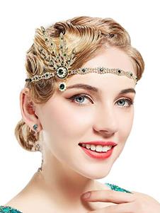 Хлопчатобумажные аксессуары для одежды Rhinestone Gems 1920-х годов Большой аксессуар Gatsby Green Metal женские головные уборы с хлопушкой для Хэллоуина