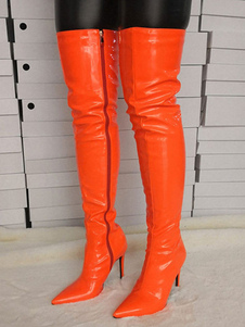 "Over the Knee Boots Оранжевый острый носок 4.3 ""сапоги для женщин"