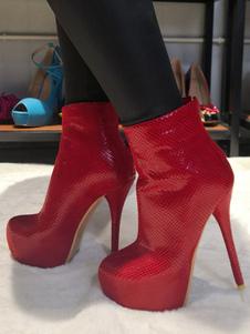 """النساء أحذية الكاحل الأحمر بو الجلود جولة تو الخنجر كعب 5.9 """"الجوارب"""