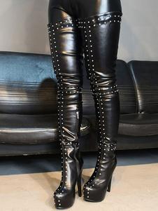 Stivali alti da donna Rivetti a punta rotonda in pelle PU neri Stivali sopra il ginocchio sexy