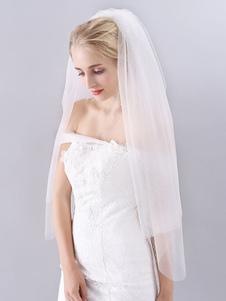 Véu de noiva três camada corte borda cachoeira véu de noiva