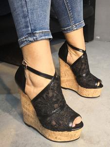 المرأة صنادل الإسفين كعب أسود زقزقة اصبع القدم منصة عارضة أحذية نسائية