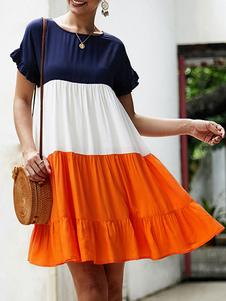 Mini abito da donna oversize color block gioiello collo gioiello