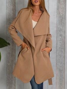Cappotto invernale oversize con collo a maniche lunghe da donna Khaki