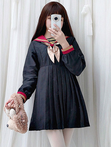 Прекрасное платье Lolita OP Лолита с бантами Черные с длинным рукавом с принтом Лолита Цельные платья