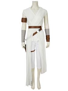 Star Wars a ascensão de Skywalker Rey linho branco drama trajes de cosplay