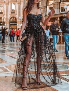 Черное макси-платье с блестками и блестками вечернее платье без рукавов прозрачное сексуальное длинное платье