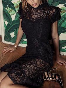 Vestidos de encaje negro Sheer Jewel Neck Mangas cortas Vestidos de lápiz sexy