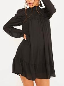 فساتين التحول الأسود كم طويل الياقة العالية اللباس تونك