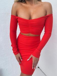 Vestido club rojo con hombros descubiertos Vestido largo ajustado con mangas largas