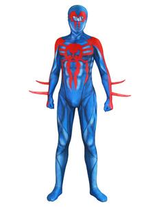 Carnevale Cosplay Spider Man 2099 New Era Spider Man Blu Lycra Spandex Tuta Body Marvel Comics Cosplay