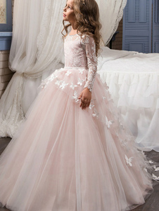 Flower Girl Dresses Jewel Neck Long Sleeves Butterfly Formal Kids Princess Dresses