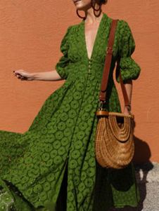 Vestidos largos de encaje Cuello de pico verde Manga de soplo Mujeres Vestidos de columpio
