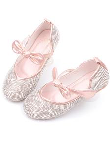 Scarpe da ragazza di fiore Scarpe da festa in pelle PU rosa con fiocchi per bambini