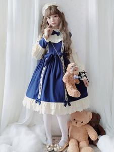 Сладкая Лолита OP Dress Honey Girl Bows Бордовый бант с длинными рукавами Лолита Цельные платья