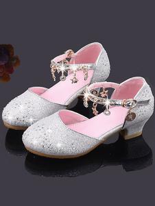 Scarpe da bambina con fiori in paillettes rosa Catene di scarpe da festa per bambini