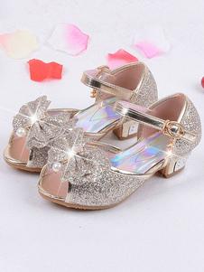 Sapatos de menina de flor Loiro lantejoulas pano arcos festa crianças sapatos Elsa sapatos em congelados