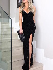 Vestido preto maxi lantejoula glitter sem encosto dividir mangas até o chão vestido de noite