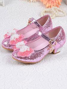 Scarpe da ragazza di fiore Scarpe da festa con fiocchi di paillettes color azzurro cielo per bambini Princess Elsa Shoes in Frozen