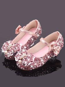 Scarpe da ragazza di fiore Scarpe con fiocchi in argento con paillettes argento per matrimonio