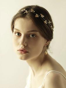 Acessórios acessórios do cabelo do metal da folha dos Headpieces do casamento para a noiva