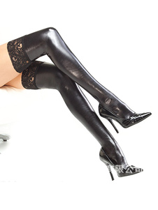 Disfraz Carnaval Calcetines altos hasta la rodilla de encaje negro brillante de media sexy para mujer Carnaval