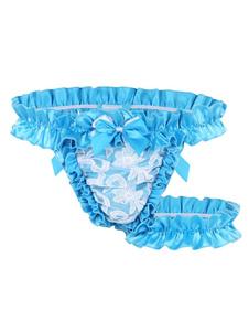 Bragas Lencería Bragas Sexy Lazo Corto Mujer Poliéster Azul