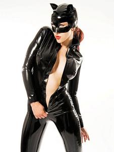 Costume Carnevale Tuta Zentai Halloween Halloween Body Cat in vernice nera brevetto per donna