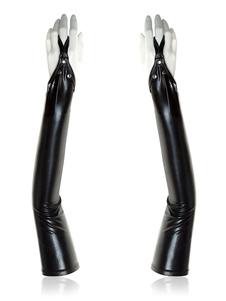 Costume Carnevale Guanti da donna Zentai Guanti sexy in vernice nera metallizzata lucida