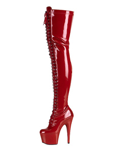 Stivali sexy con tacco alto Punta tonda Cono con tacco Tacco a spillo Rave Club Stivali alti con coscia rossi Scarpe spogliarelliste