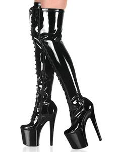 Женские сексуальные сапоги с круглым носком на шнуровке на молнии на шпильке Rave Club Черные бедра Высокие сапоги Съемник Обувь