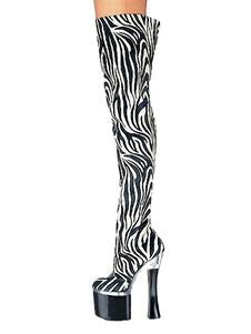 Женские сексуальные ботинки на платформе для зачистки ботинок Zebra с принтом на шпильках Rave Club Thigh High Boots