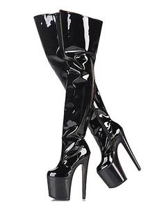 Botas de tacón alto sexy Plataforma de punta redonda Tacón de aguja Rave Club Botas altas de muslo negro Zapatos de stripper